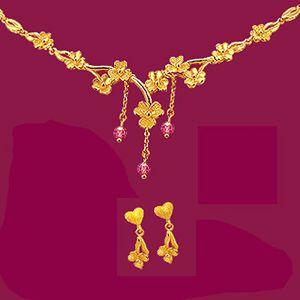 花之舞-黃金耳環