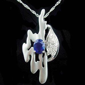 碧藍情深-藍寶石墜子