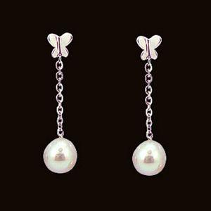 蝶舞-珍珠耳環