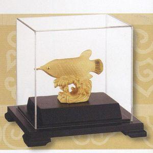 招財龍魚-立體金箔畫-絨沙金