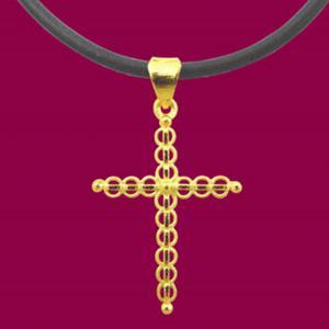 十全十美-黃金十字架金飾墜鍊