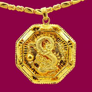 祥龍墜-黃金八卦金飾墜鍊