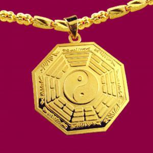 平安墜(約13.50錢)-黃金八卦金飾墜鍊
