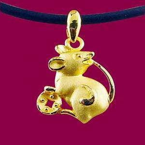 鼠來寶-十二生肖金飾墜鍊