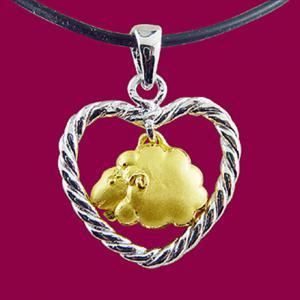黃金雙色墜-羊-十二生肖金飾墜鍊