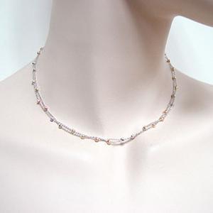 雙條式三色珠鍊-鑽石精品